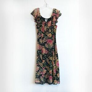 Vintage Laura Ashley Long Silk Floral Dress, Ruffle Neck Fully Lined Size 6