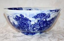 "RARE C.1825 ANTIQUE STAFFORDSHIRE TRANSFERWARE BLUE AND WHITE LARGE 11"" BOWL"