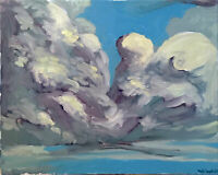 "Cloud Sky Landscape Impressionist Original Oil Painting Signed 16""x20"""