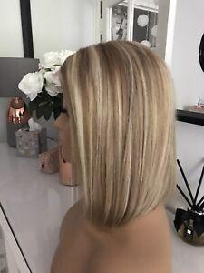 "Glueless Highlights Ombre Blonde Brown Lace Bob Wig 10"" 100% Virgin Human Hair"
