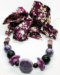 WOMEN'S NECKLACE Catalouge Fashion Jewelry - Purple Tones Fabric Necklace