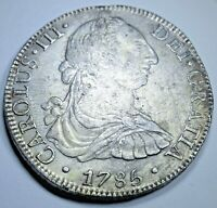 1785 FM XF-AU Spanish Silver 8 Reales Eight Real Colonial Pirate Treasure Coin