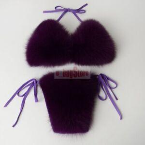 2021 INS Women Real Fox Fur Bikini Bra Summer Beach Underwear Fluffy Soft Bikini