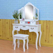 US Home Modern 5 Drawers Tri-fold Mirror Dresser with Dressing Stool White New