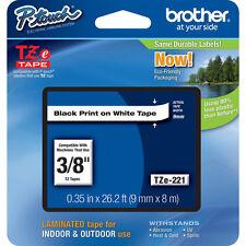 "Brother TZ221 TZe221 9mm 3/8"" inch black on white TZ P-Touch tape PT1090 PT1290"