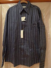 VERSACE COLLECTION  NAVY STRIPE SHIRT SIZE 41/16