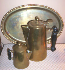 1942 Blake Brass Coffee Pot & Creamer w/Wood Handles + Brass Serving Tray(India)