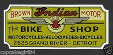 """INDIAN & BICYCLES MOTORCYCLE """"The Bike Shop"""" GARAGE GAS STATION STICKER DECAL"""