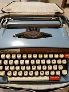 Vintage WEBSTER XL-747 BROTHER Portable Blue Typewriter With Case.