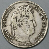 1837-MA France 5 Francs VF Louis Philippe I Silver Marseille Coin (19111504R)