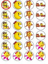 24 X MS PACMAN MIX RICE PAPER BIRTHDAY CAKE TOPPERS