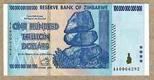 Zimbabwe 100 Trillion Dollar EXTREMELY LOW Serial AA000.. Money Inflation Record