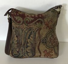FOSSIL 75082 Brown Leather Canvas Shoulder Bag Purse