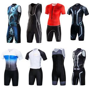 Herren Pro Triathlon Tri Anzug Ärmellos Laufen Schwimmen Fahrradfahren Skinsuit