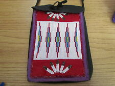 AUTHENTIC NATIVE AMERICAN BEADED BAG PURSE STUNNING DETAILED HAND MADE DESIGN