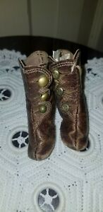 ANTIQUE FRENCH FASHION GERMAN BISQUE BROWN LEATHER BOOTS SHOES button up tassel