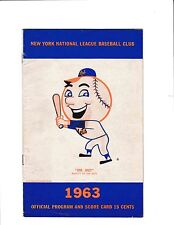 1963 New York Mets Official Program And Score Card Aug 18 Vs Dodgers Game 1