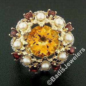 Large 14K Gold 5.28ctw Citrine Pearl Garnet Diamond Open Scalloped Cocktail Ring