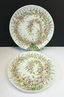 """Set/2 Tabletops Unlimited Spring Garden 11¼"""" Dinner Plates hand-painted flowers"""