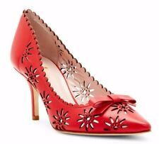 $328 Kate Spade Janina Laser-Cut Leather Pumps Heel Shoes Italy in Red Size 9.5