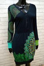 DESIGUAL Donna Vestito Taglia M Abito Blu Manica Lunga Tubino Dress Women Casual