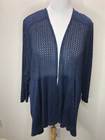 Catherines 3XP Navy Blue 3/4 Sleeve Kimono Open Front Top Plus Size