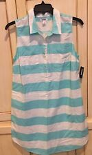 NEW OLD NAVY STRIPED COTTON AQUA BLUE WHITE BUTTOM UP PARTY SUMMER DRESS LARGE L