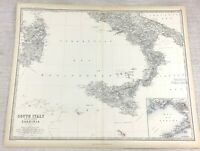 1861 Mappa Antica Di Del Sud Italia Sicilia Mano Colorato Incisione Johnston