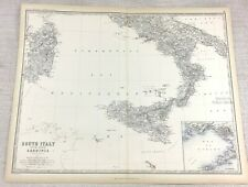1861 Antique Map of Southern Italy Sicily Hand Coloured Engraving Johnston