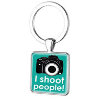 I Shoot People Camera Wedding Photographer Metal Keyring Keychain +Free Gift Bag