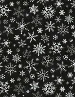 Christmas Fabric - Black and White Snowflake Toss - Timeless Treasures YARD