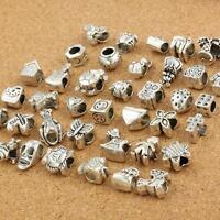40Pcs Tibetan Silver Plated Mix Dangle Charm Beads Fit European Charms Bracelet