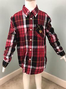 Boy's Chaps L/S Black/White/Red Plaid Button Down Shirt Sz 6