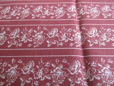 Vtg 80s rose rows stripe cotton fabric rust brown white remnant 30x36