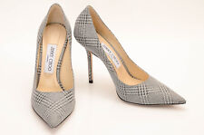 Manolo Blahnik silver 7 37 glitter plaid print slip on point toe pump shoe $725