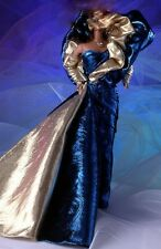 Beautiful blue and gold gown with real zipper Barbie model muse
