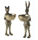 DISH STAND BOOKENDS VASE HARE or FOX Metal BRASS/GOLD Accent Decor BeAuTiFuL NEW