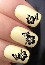 WATER NAIL TRANSFERS HIBISCUS FLOWER & BUTTERFLY TATTOO DECALS STICKERS *632