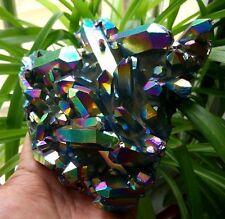 F2411 Rainbows Angel Aura Crystal Cluster,Titanium & Platinum Coated.  795g