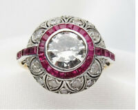 Art Deco 2.77 Ct Diamond Ruby Vintage Antique 925 Silver Victorian Wedding Ring