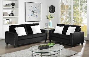 NEW 2PC Sofa Couch Loveseat Set Black Velvet Modern Living Furniture Fur Pillows