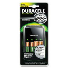 Duracell ION SPEED 8000 Professional Charger, with 2 AA and 2 AAA NiMH Batteries