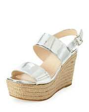 NEW  PRADA Platform Espadrille Sandals Wedge Metallic Shoes Silver 37 / 7