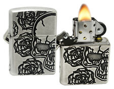 Zippo 28988 Armor Skull Rose Deep Carved Antique Silver Plate Windproof Lighter