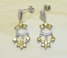 Sterling Silver Simulated Diamond Chandelier Earrings Platinum Embraced