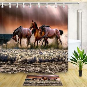 "Shower Curtain Brown Horse by the Sea Bathroom Waterproof Fabric & Hooks 71"""