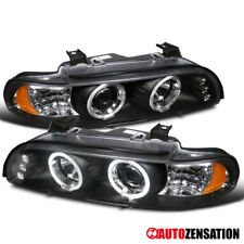 96-03 BMW 5 Series E39 525i 530i 540i Black Dual Halo LED Projector Headlights