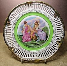 """Vintage plate SGK China scalloped pierced hand painted Occupied Japan 8.2"""" www"""