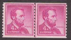 US. 1058. 4c. Abraham Lincoln. Coil Line Pair of 2. Small Holes. MNH. 1958