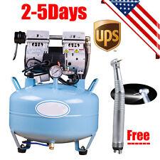 Medical Dental Air Compressor Noiseless Silent Oil-less Oil Free + LED Handpiece